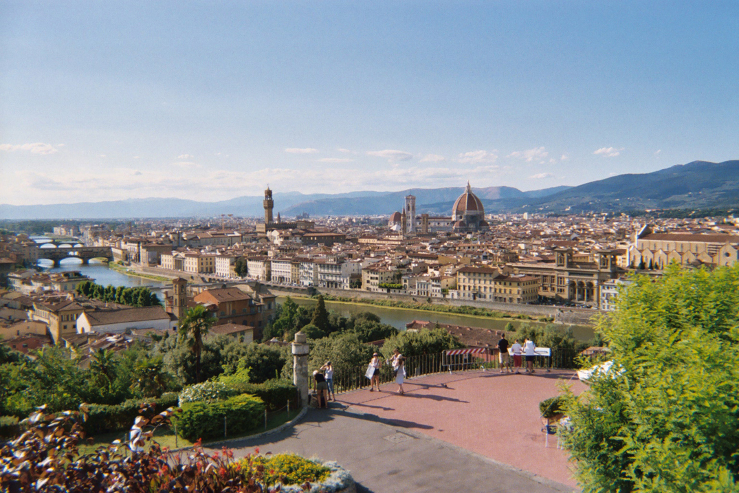 View of Florence from the terrace of Piazzale Michelangelo across the Arno