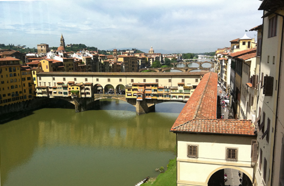The Ponte Vecchio spans the Arno River in Florence
